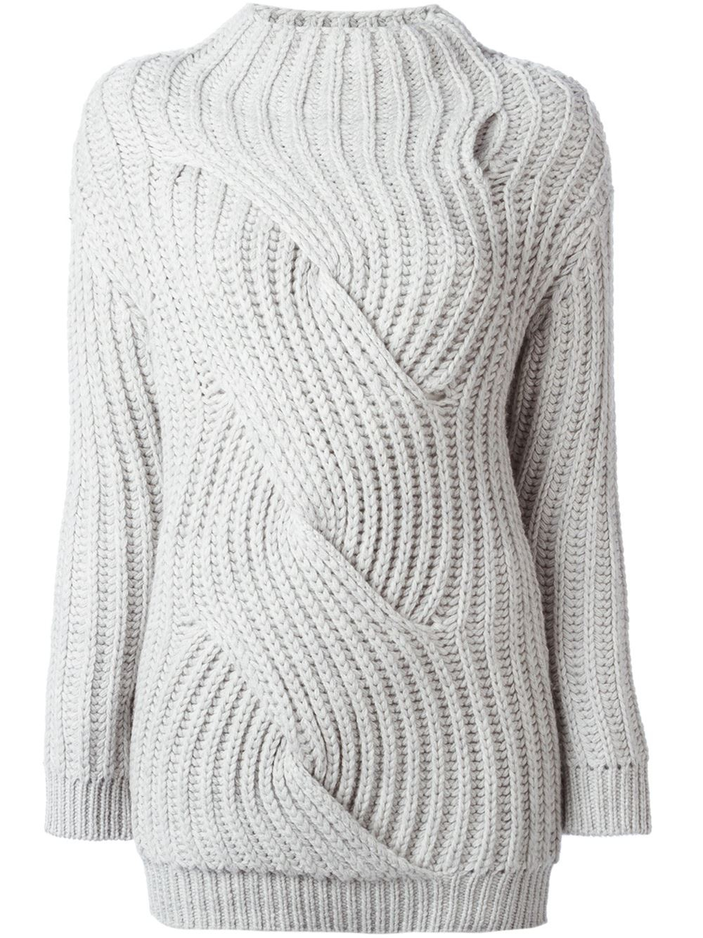 Carven Chunky Ribbed Sweater in Gray | Lyst