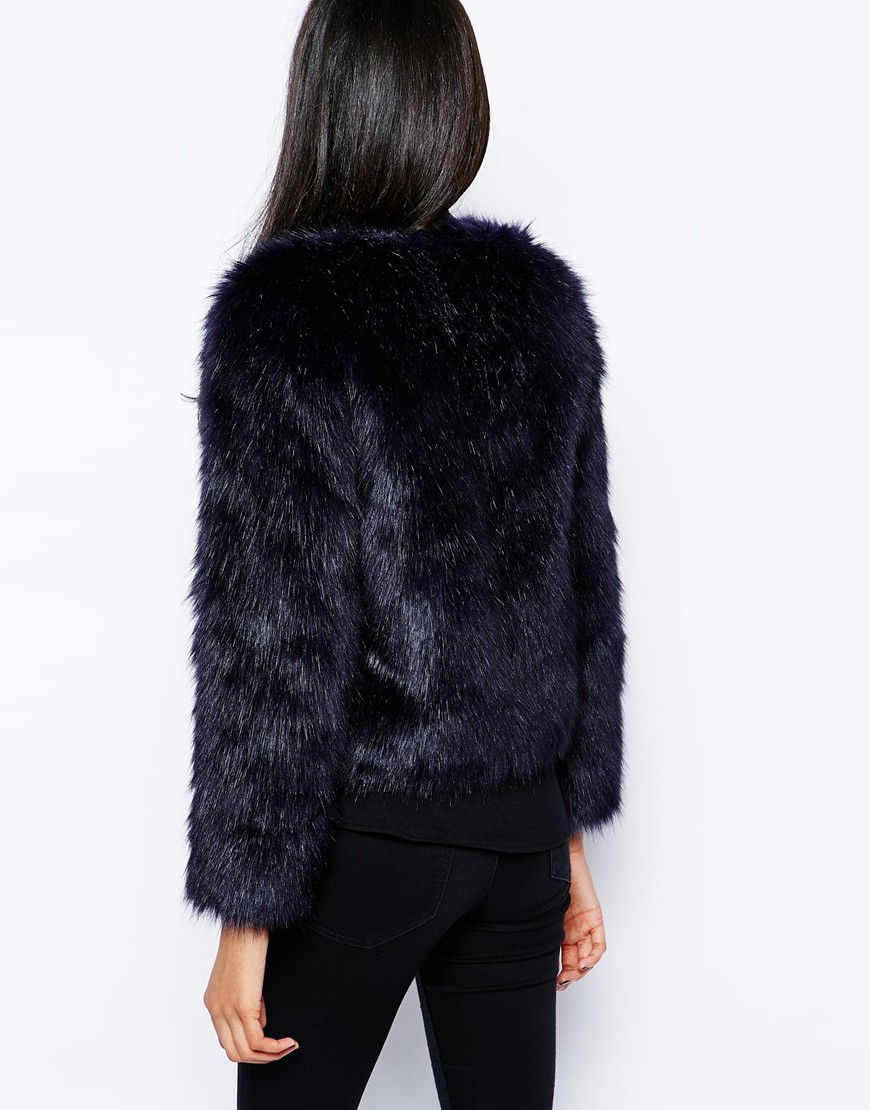 Lipsy Michelle Keegan Loves Faux Fur Coat in Blue | Lyst