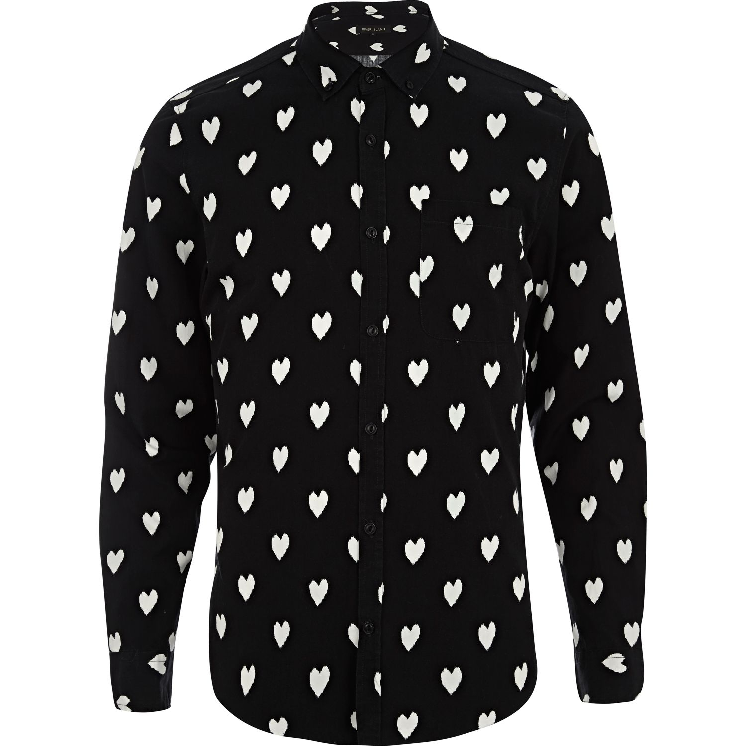 river island black ikat heart print long sleeve shirt in