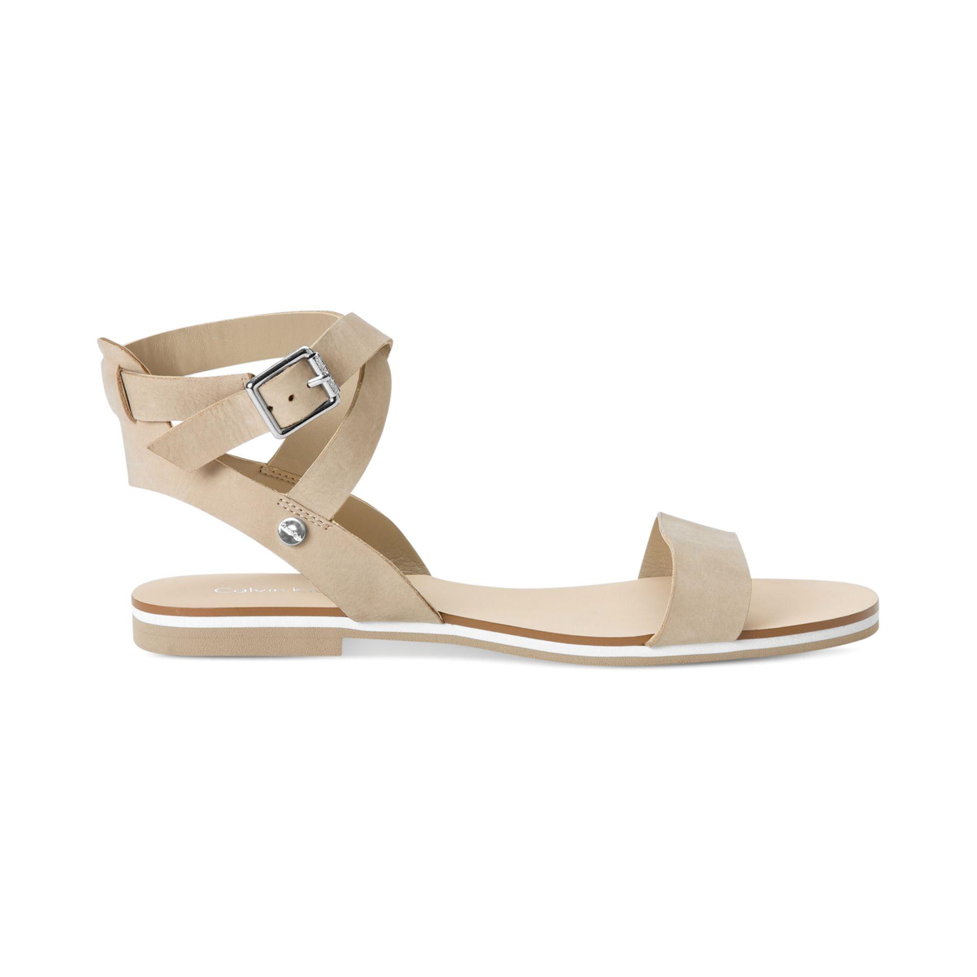 615b2257c Lyst - Calvin Klein Carolina Flat Sandals in Natural
