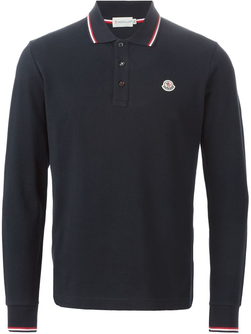 lyst moncler long sleeve polo shirt in blue for men. Black Bedroom Furniture Sets. Home Design Ideas