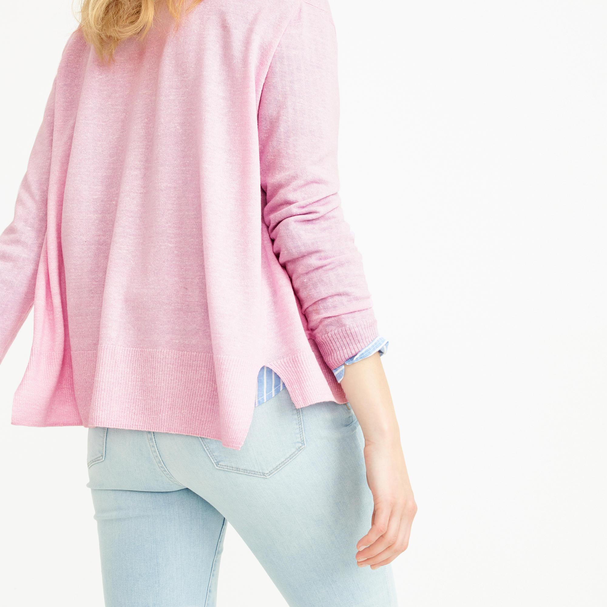 J.crew Merino Linen V-neck Cardigan Sweater in Pink | Lyst
