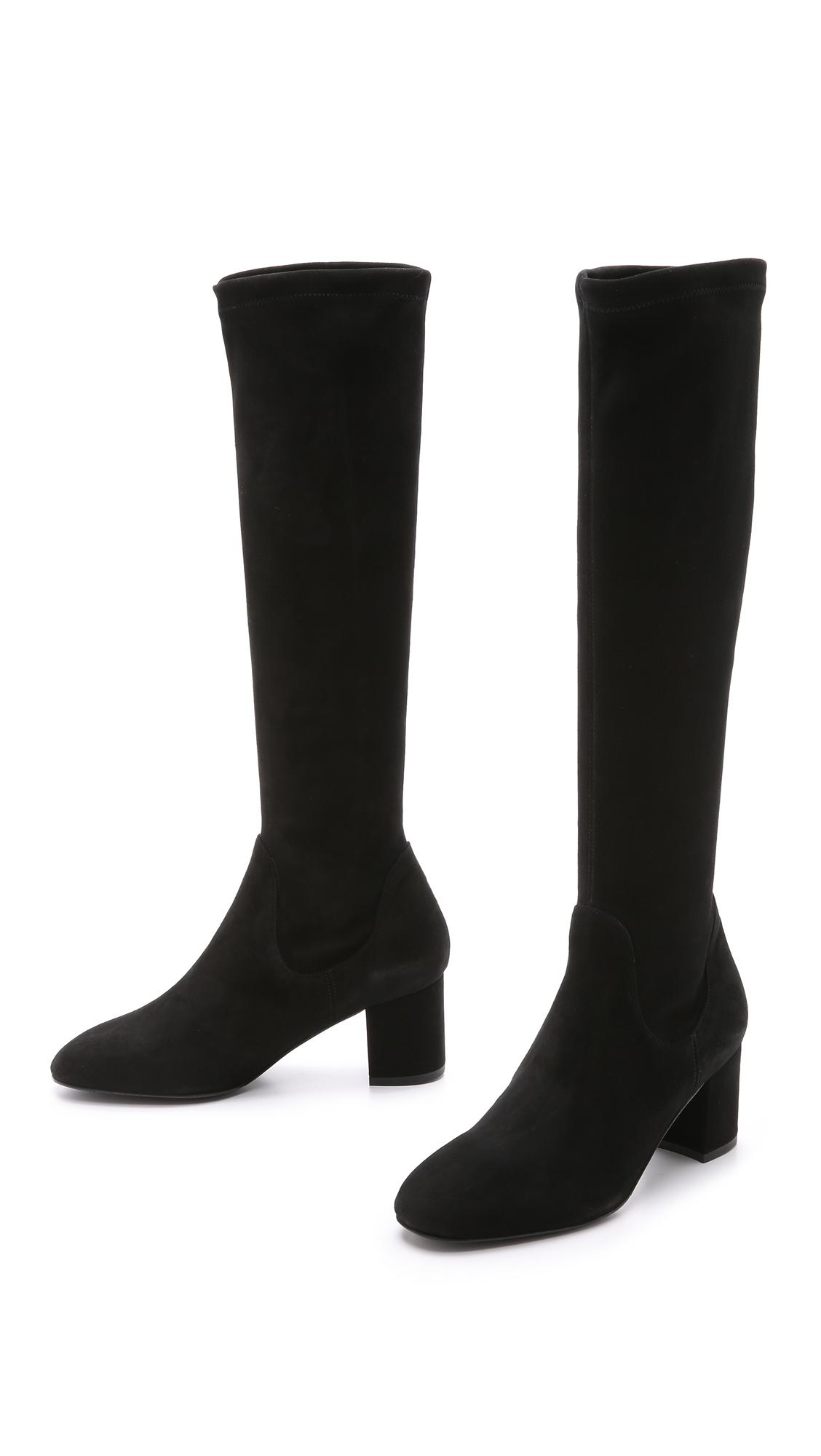 l k suede block heel boots black in black