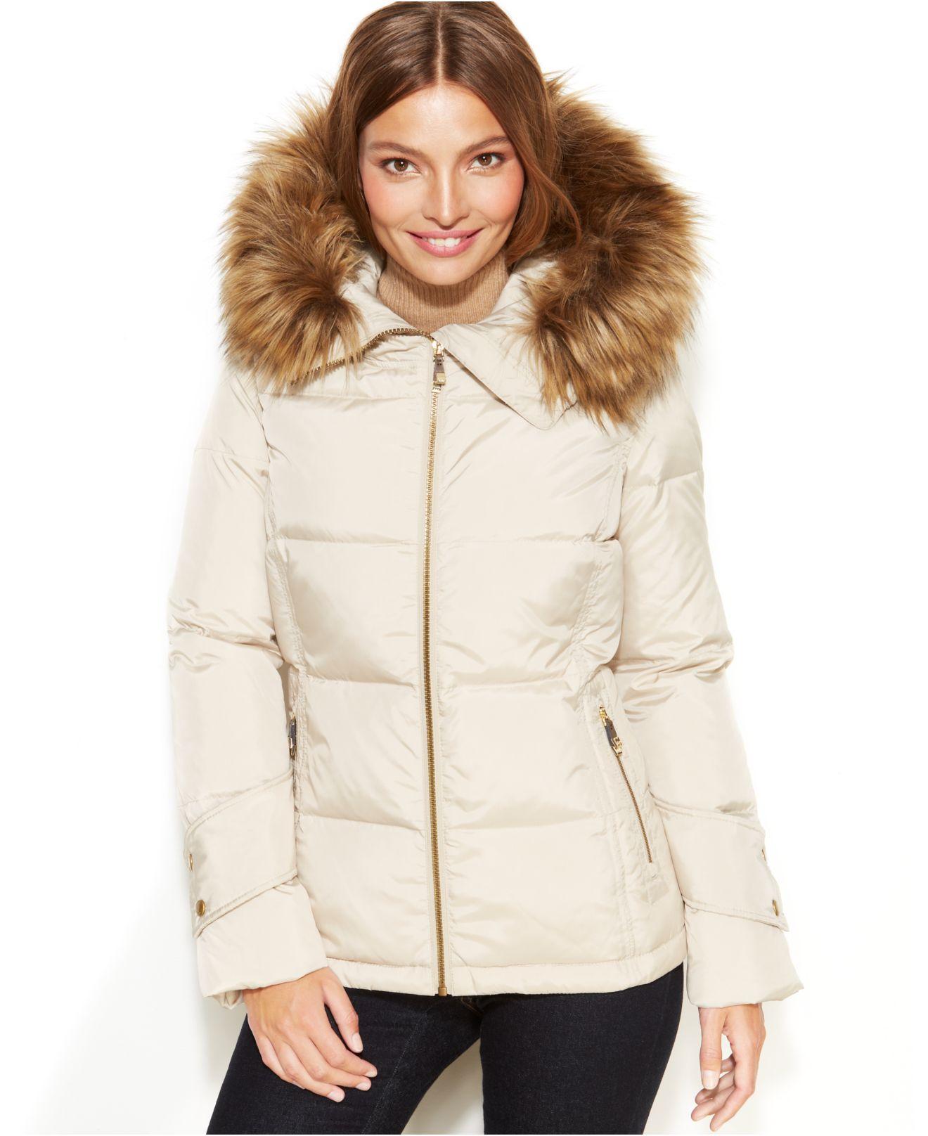 Calvin Klein Petite Faux Fur Trim Hooded Down Jacket In