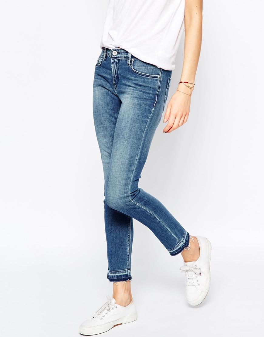 lyst hilfiger denim naomi mid rise slim jeans with raw. Black Bedroom Furniture Sets. Home Design Ideas