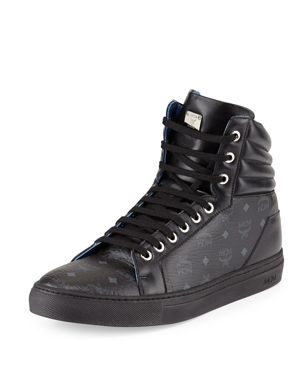 Lyst Mcm Monogrammed High Top Sneakers In Black For Men