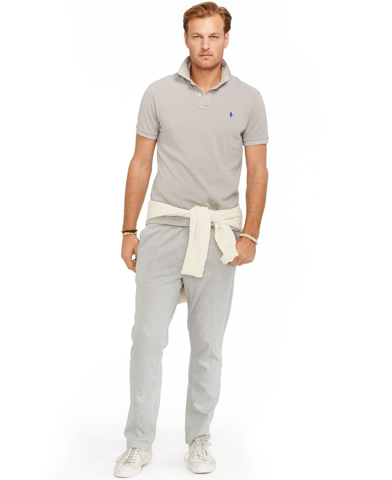 Polo ralph lauren Big And Tall Classic Mesh Polo Shirt in Gray for Men (Barn .