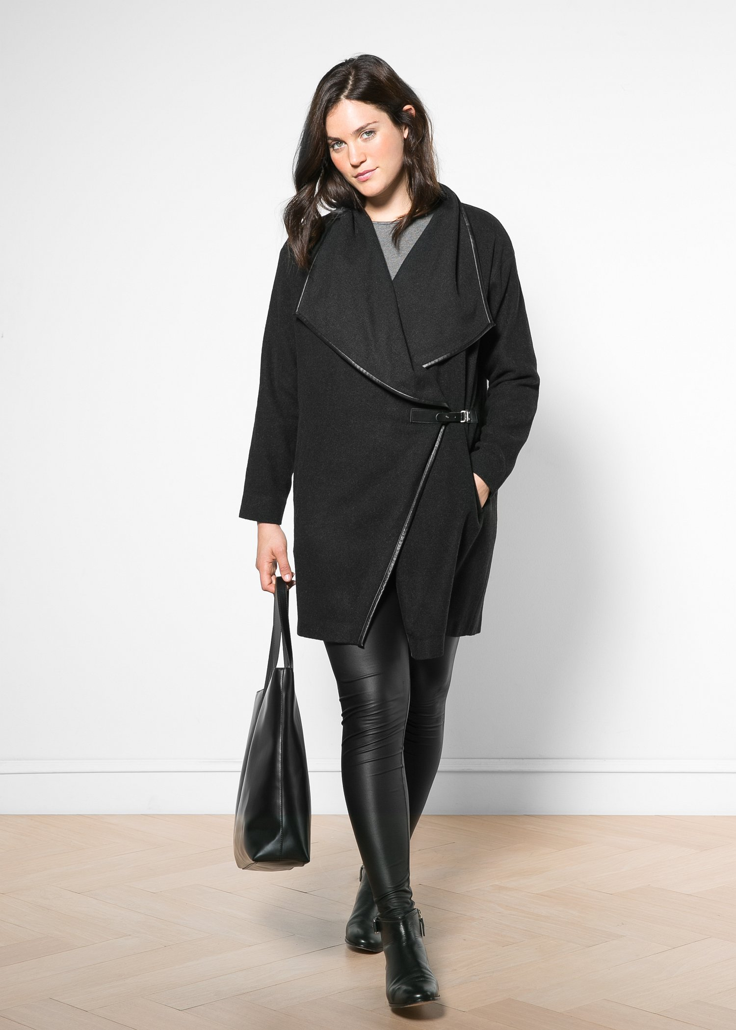 Violeta by mango Waterfall Wool-Blend Coat in Black | Lyst
