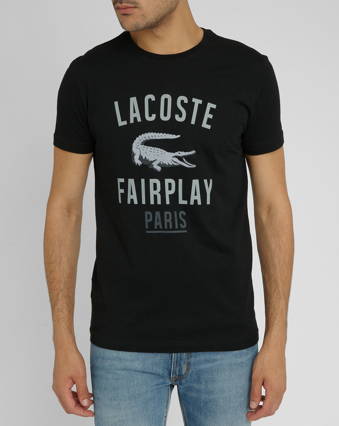 lacoste fairplay black t shirt with crocodile logo in black for men. Black Bedroom Furniture Sets. Home Design Ideas