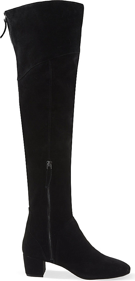 nine west arnalda suede thigh boots in black lyst