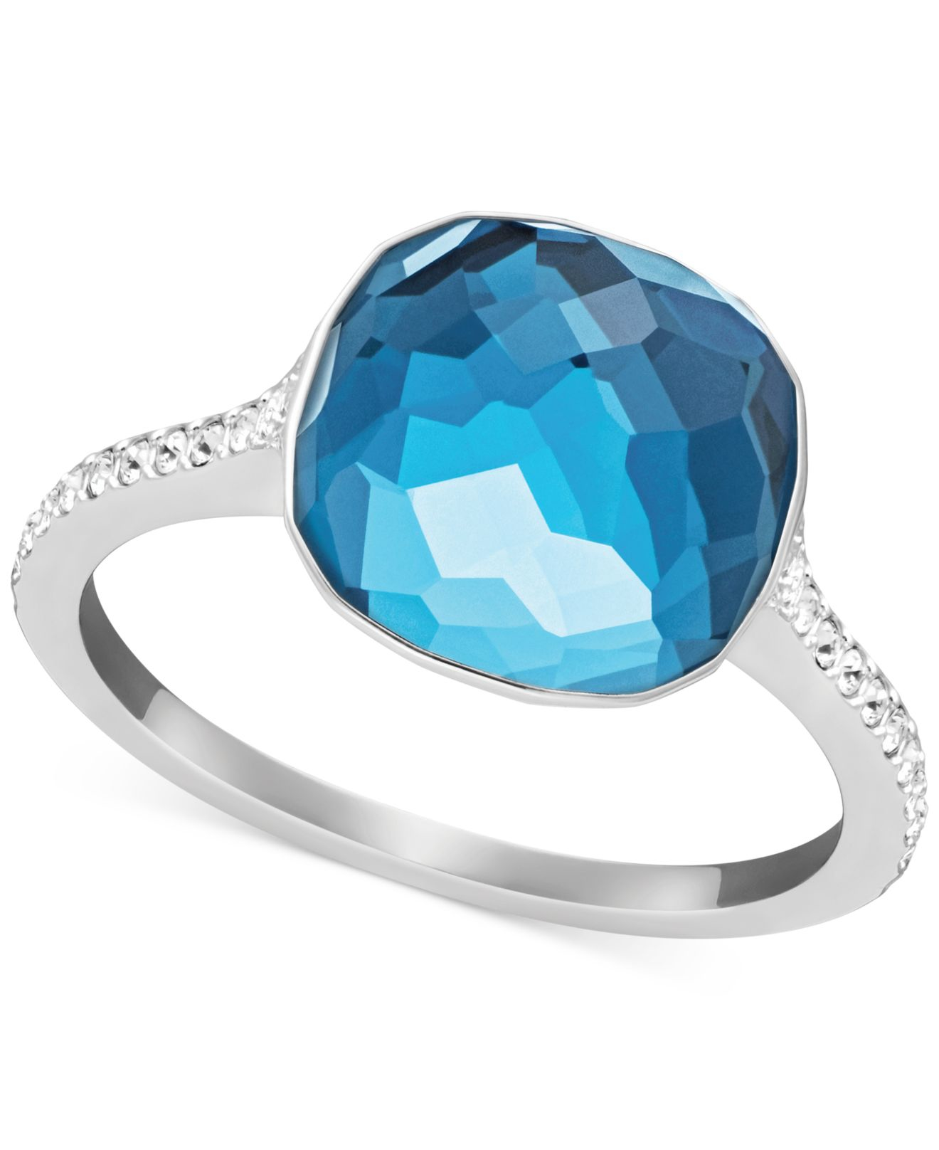 9ca686a41 Lyst - Swarovski Silver-tone Blue Faceted Crystal Ring in Blue