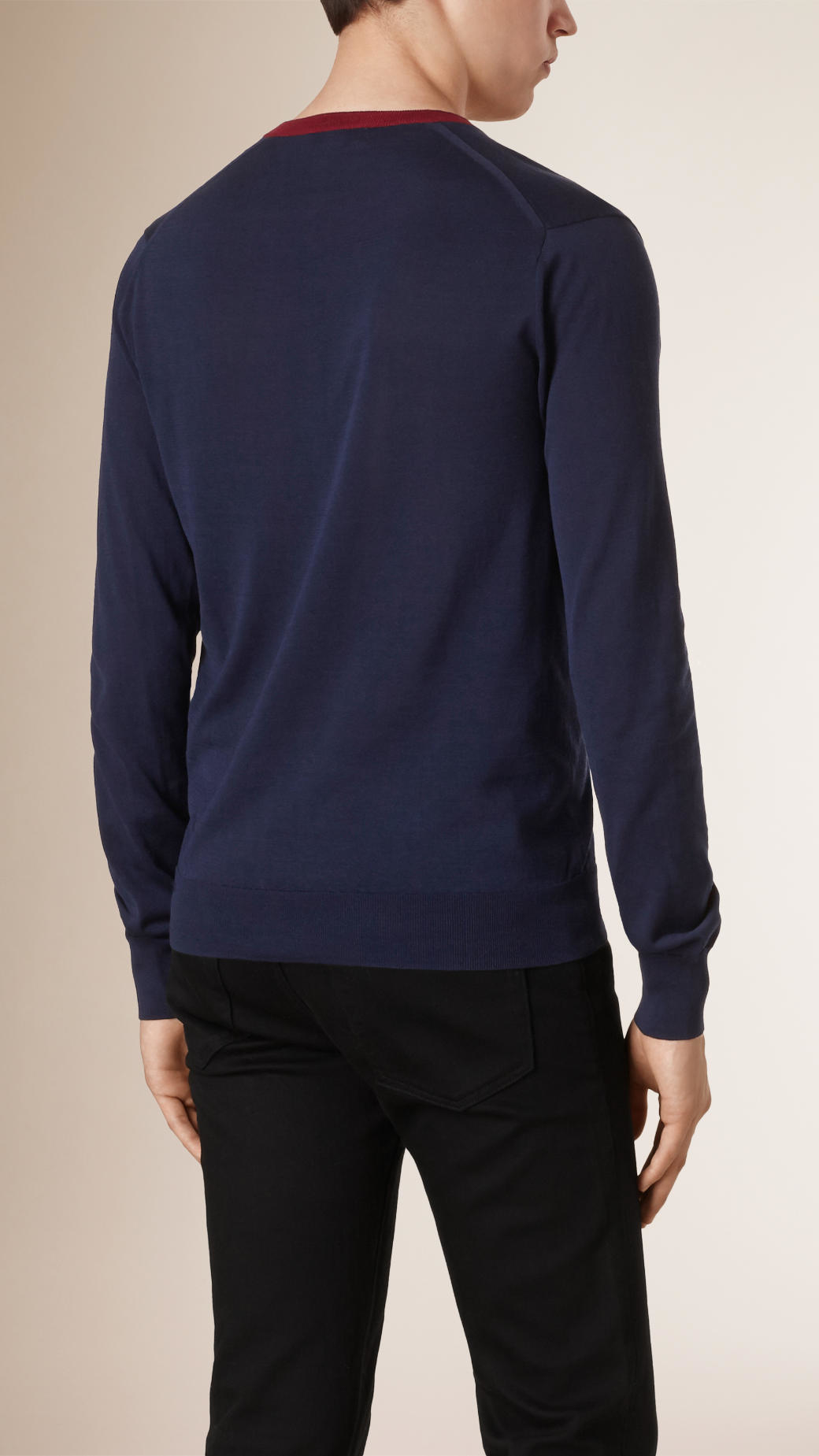 Burberry V-neck Silk Cotton Sweater in Blue for Men | Lyst