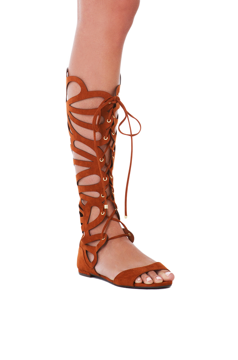 Akira Knee High Lace Up Cut Out Tan Gladiator Sandals in ...