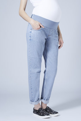 Topshop Maternity Moto Bleach Mom Jeans in Blue | Lyst