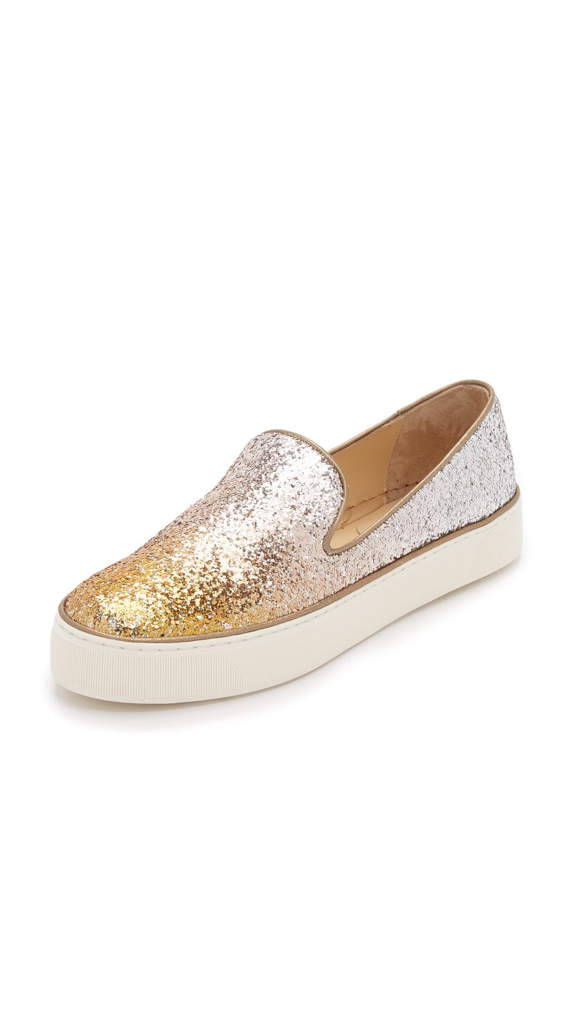 171af16bf355 Lyst - Stuart Weitzman Biarritz Glitter Slip On Sneakers in Metallic