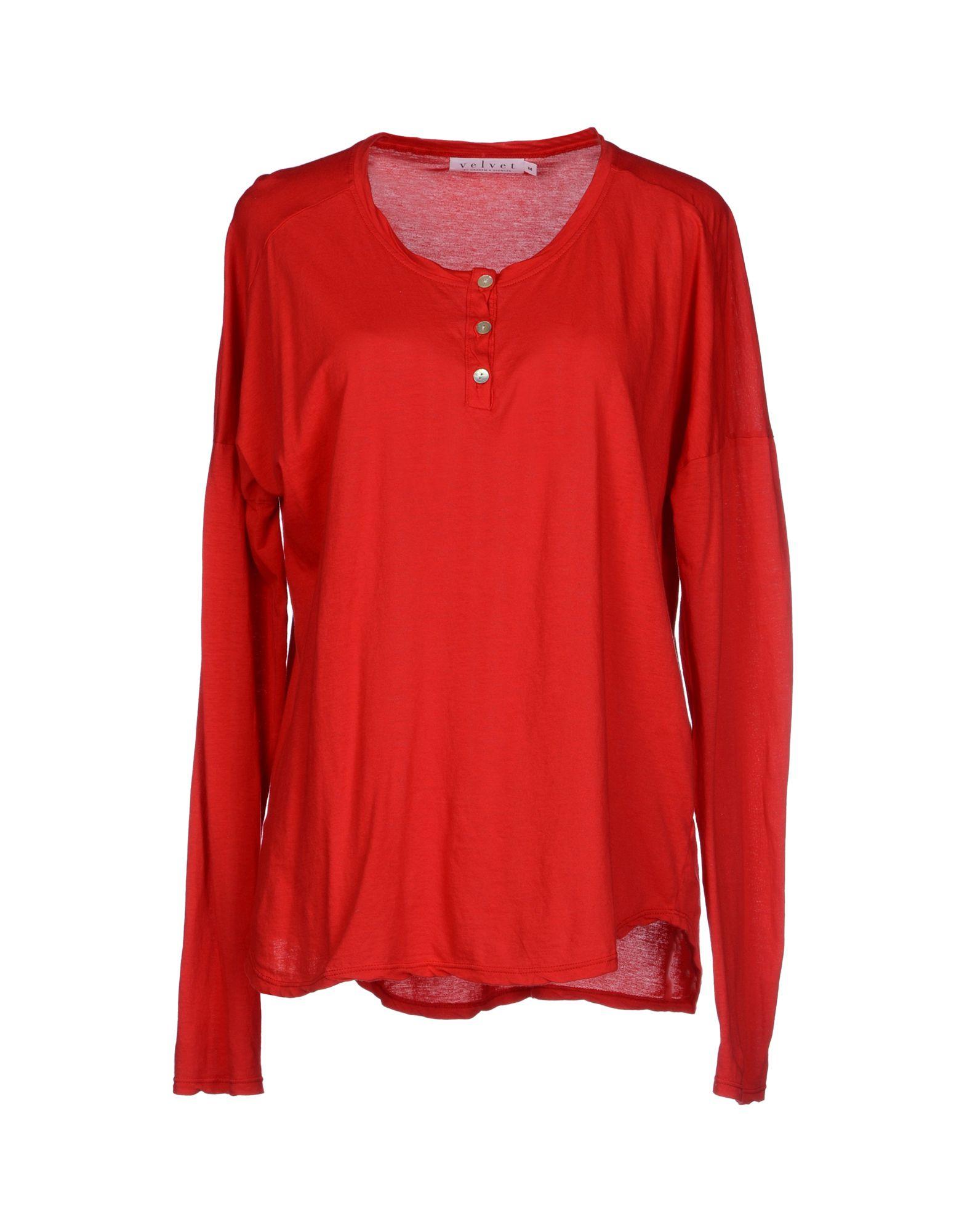 Velvet t shirt in red lyst for Red velvet button up shirt