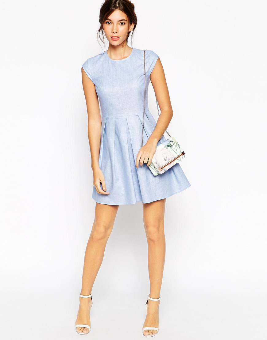 Asos Petite Dress In Chambray Linen With Short Sleeves in Blue | Lyst