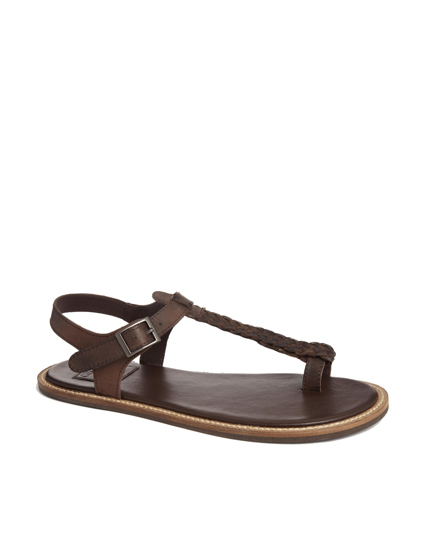 054f1d3bae9 Lyst - ASOS Sandals With Woven Leather Strap in Brown for Men