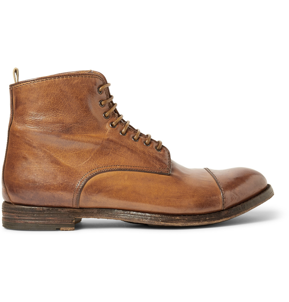 Officine Creative Anatomia Polished Lace-Up Leather Boots in Brown ...