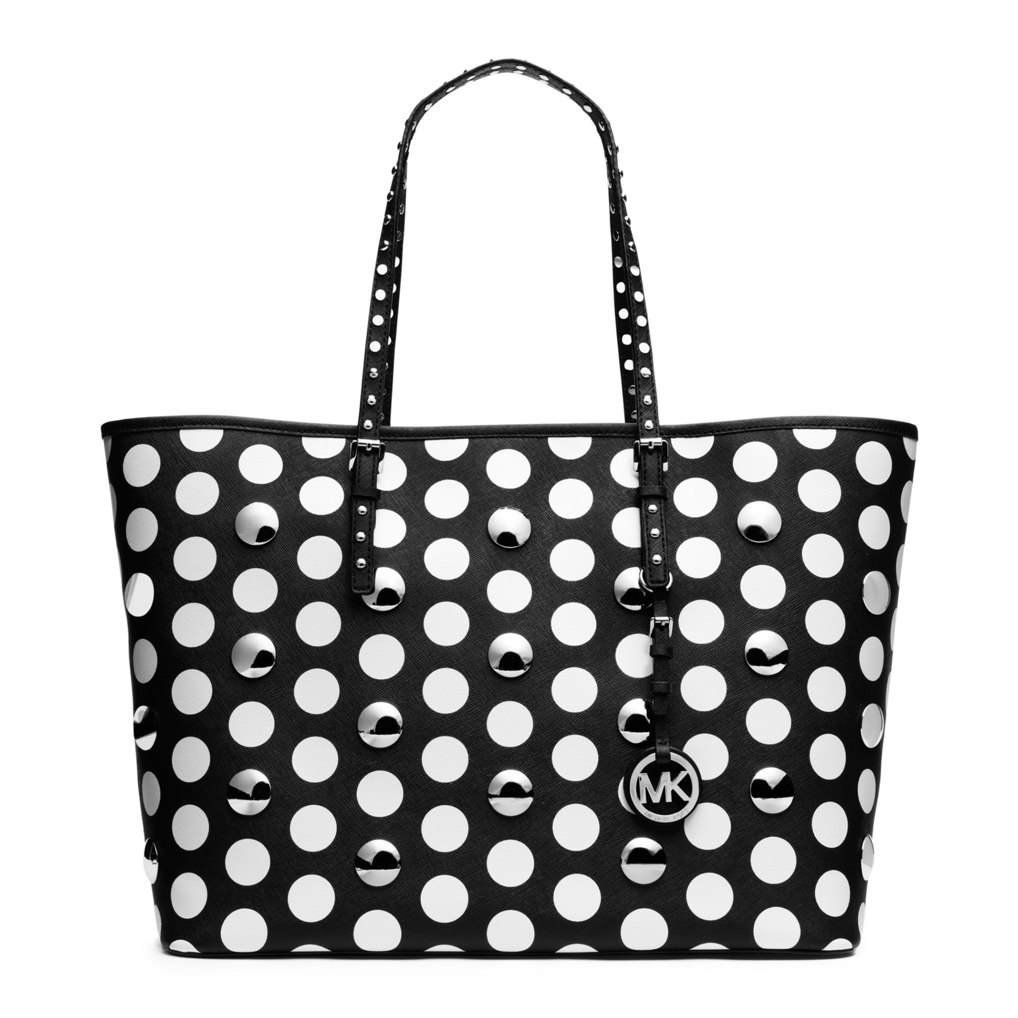7b6ca7a588645e Michael Kors Jet Set Travel Dot Stud Medium Tote in Black - Lyst