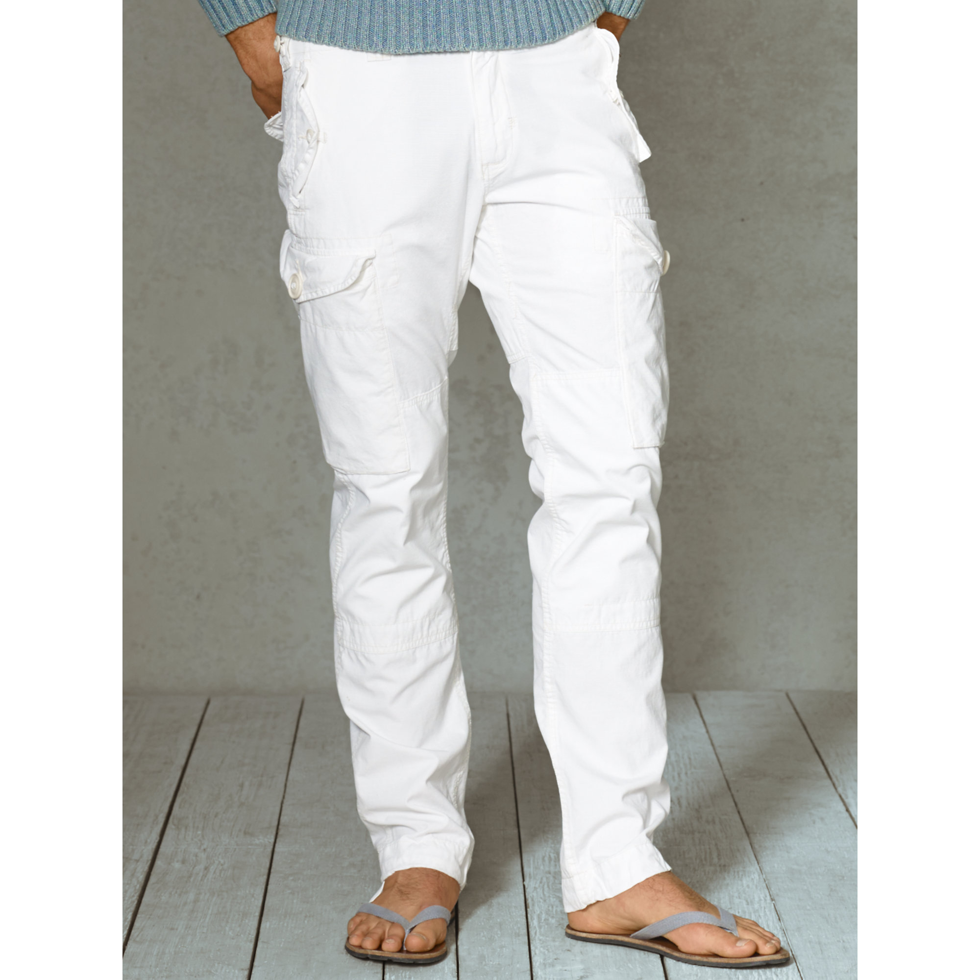 Polo ralph lauren Straight Ripstop Cargo Pant in White for Men | Lyst