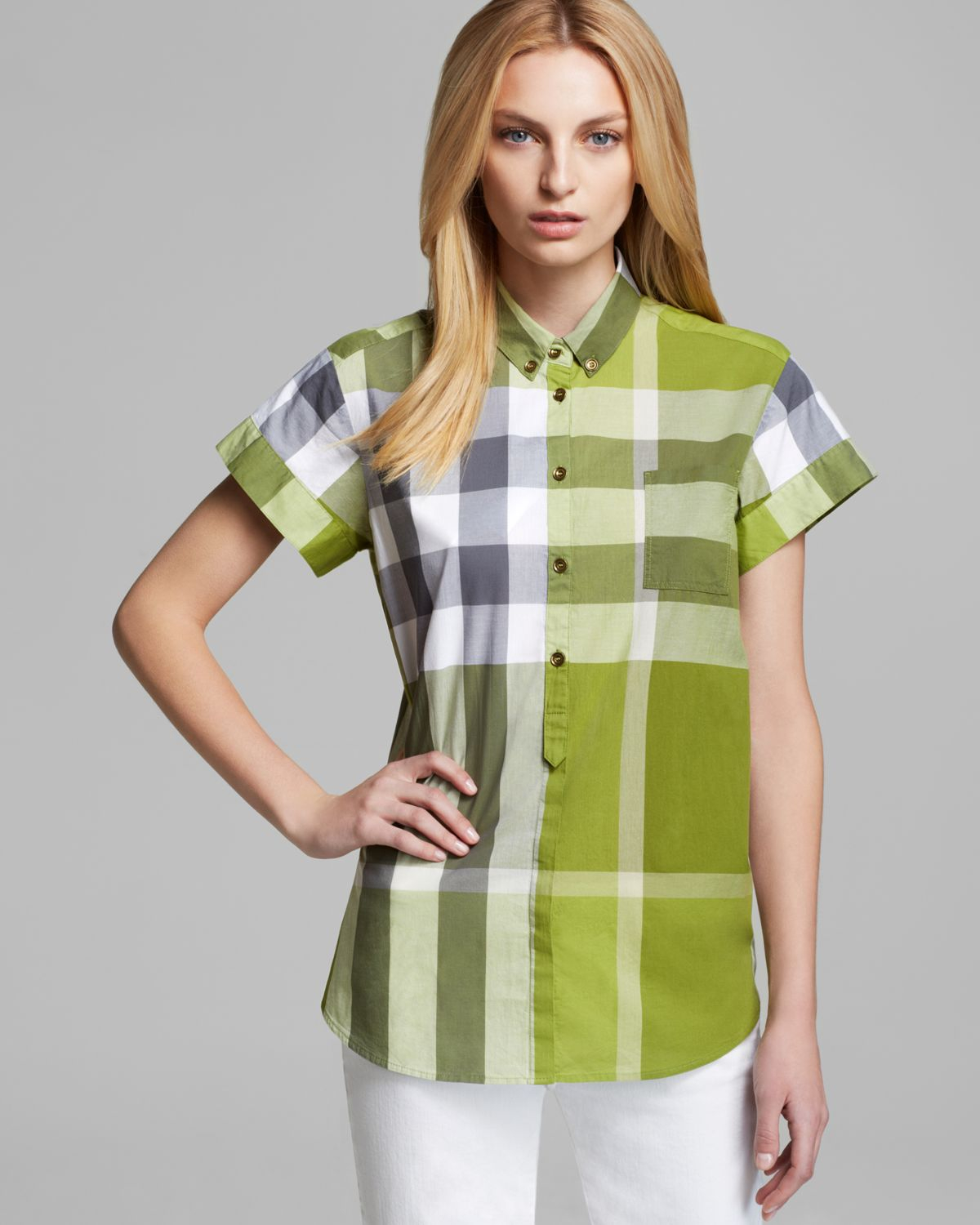 Burberry brit exploded check short sleeve button shirt in for Burberry brit green plaid shirt