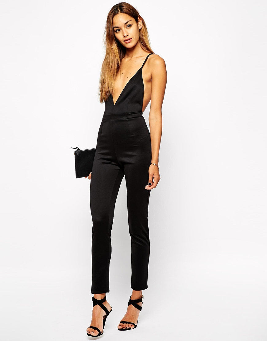 7e2cec6e418b Oh My Love Plunge Neck Jumpsuit in Black - Lyst