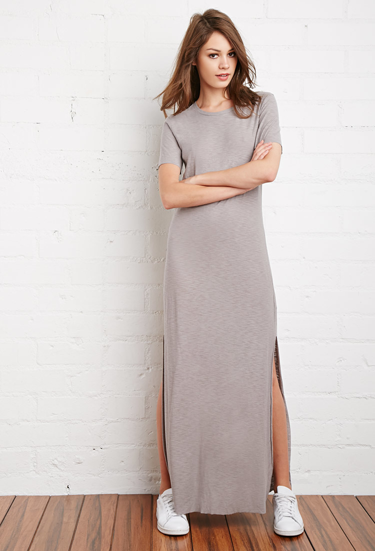 28534070b58b Forever 21 Maxi T-shirt Dress in Gray - Lyst
