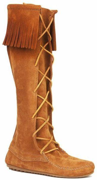 minnetonka knee high fringe boot in brown in brown lyst