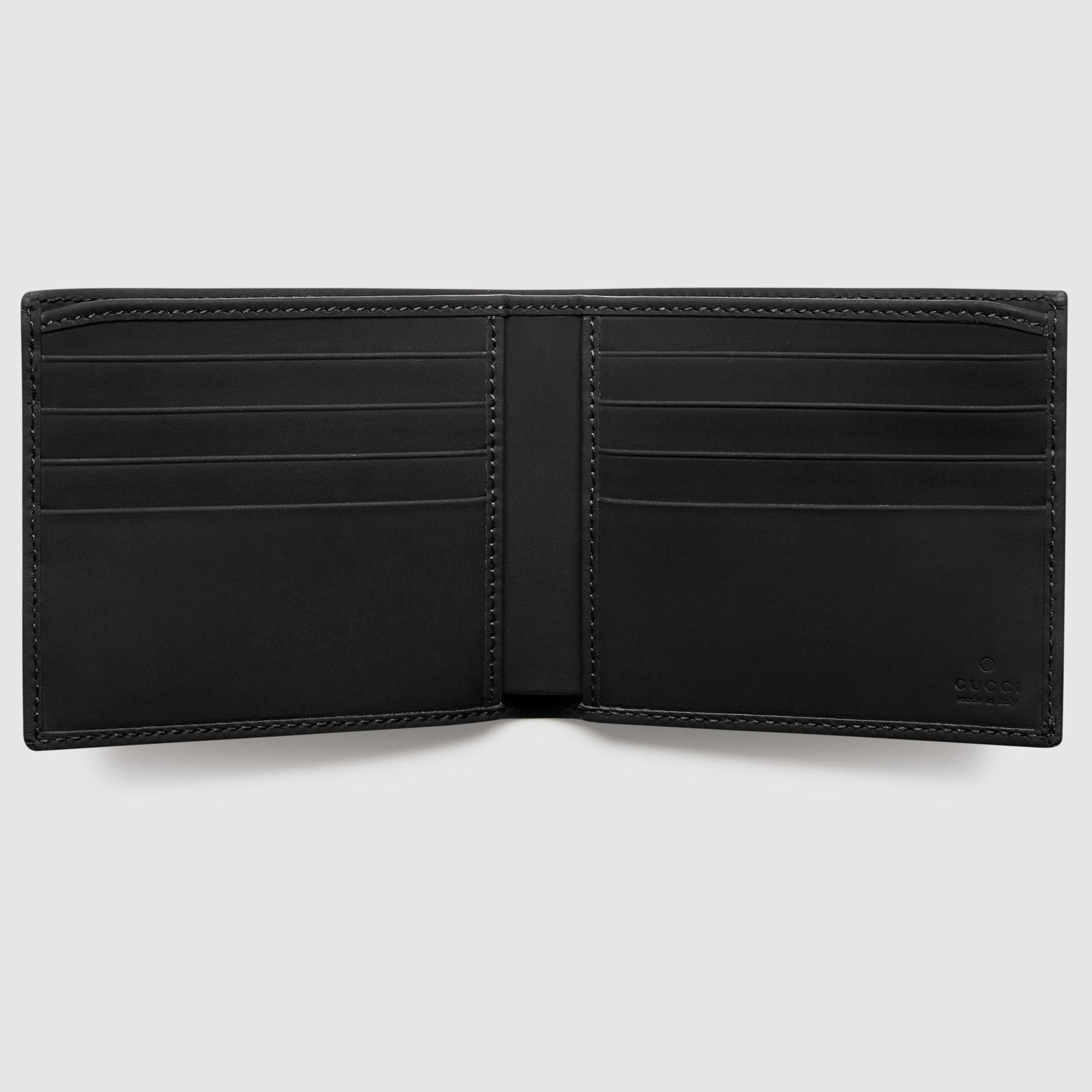 8b1b14d3c75b Lyst Gucci Rubber Ssima Leather Bi Fold Wallet In Black For Men