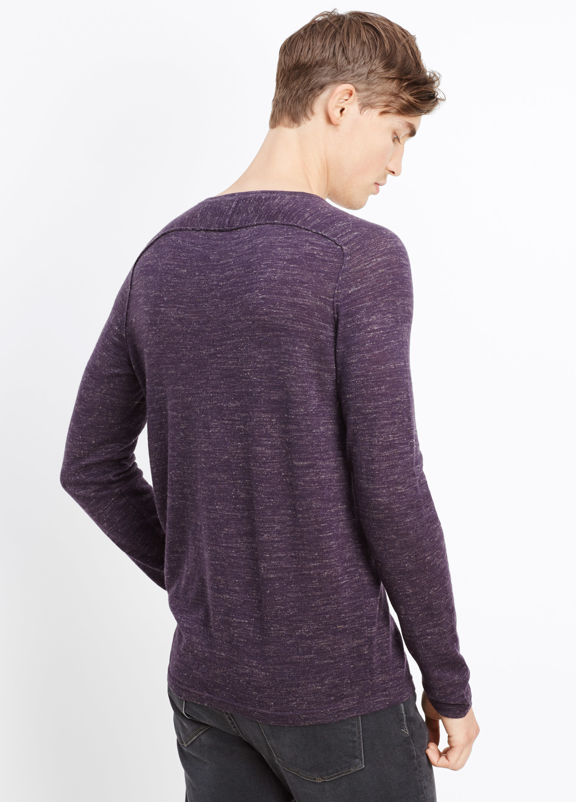 Vince Wool Linen Jasp 233 V Neck Sweater In Purple For Men H