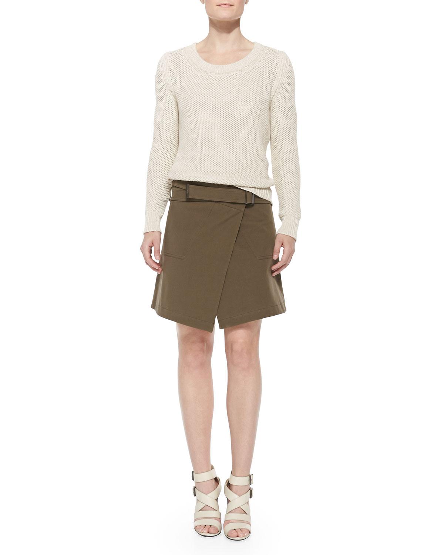 Belstaff Gabardine Belted A-Line Wrap Skirt in Natural | Lyst
