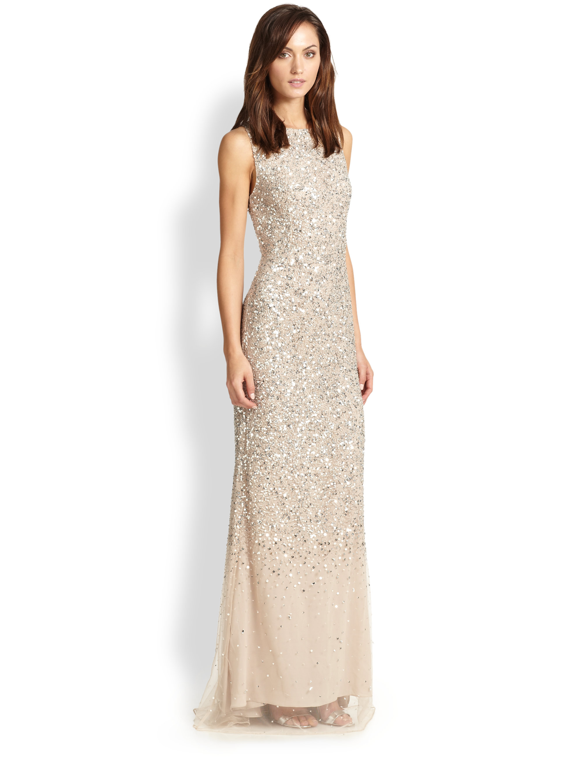Lyst - Alice + Olivia Saba Embellished Gown in Natural