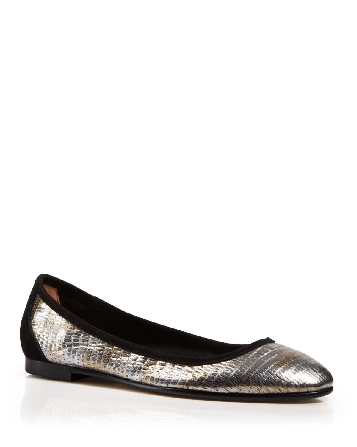 Via Spiga Metallic Leather Flats discount shopping online sale cost XVfkM