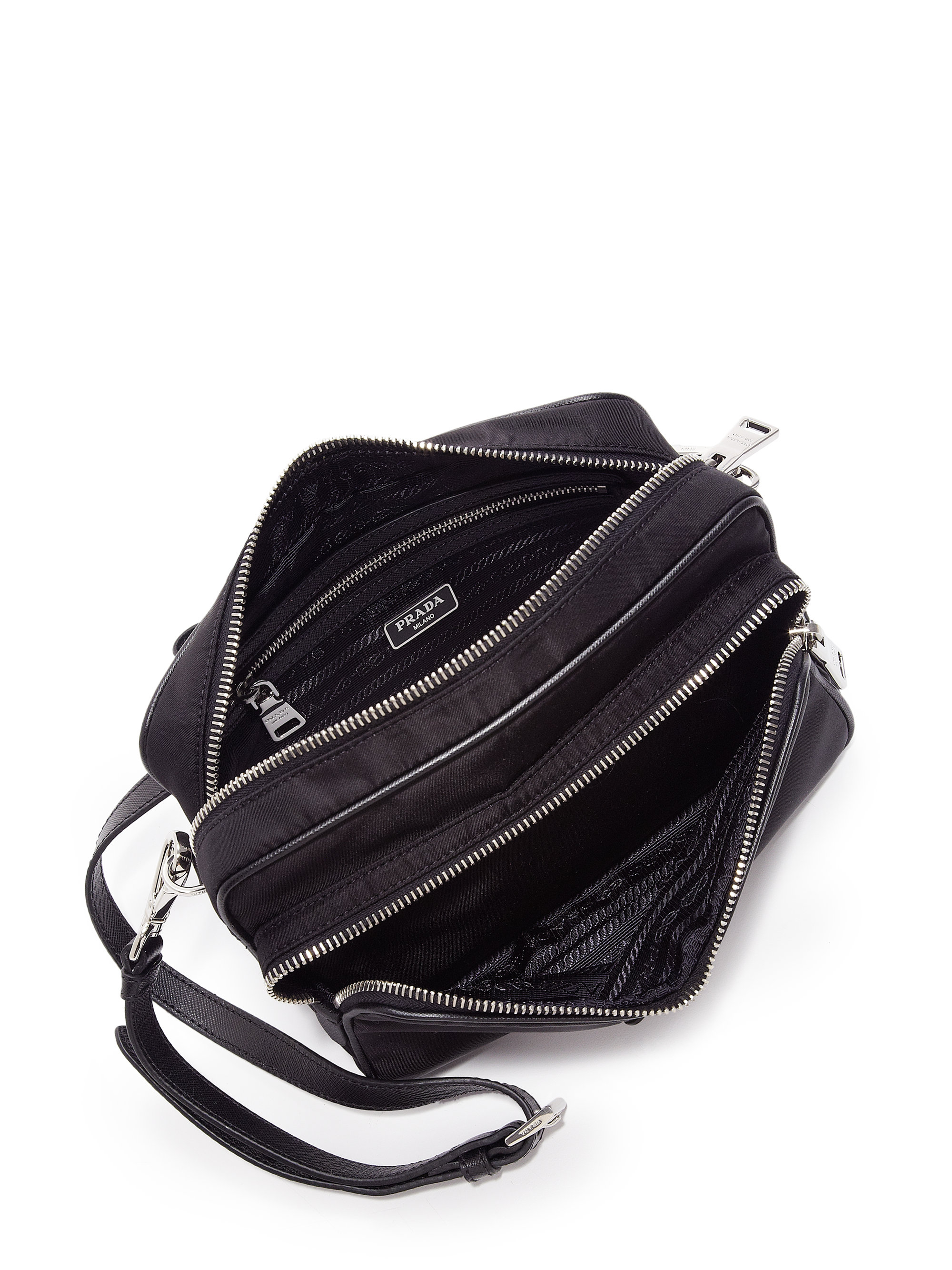 Prada Nylon Double-zip Camera Bag in Black (NERO-BLACK) | Lyst