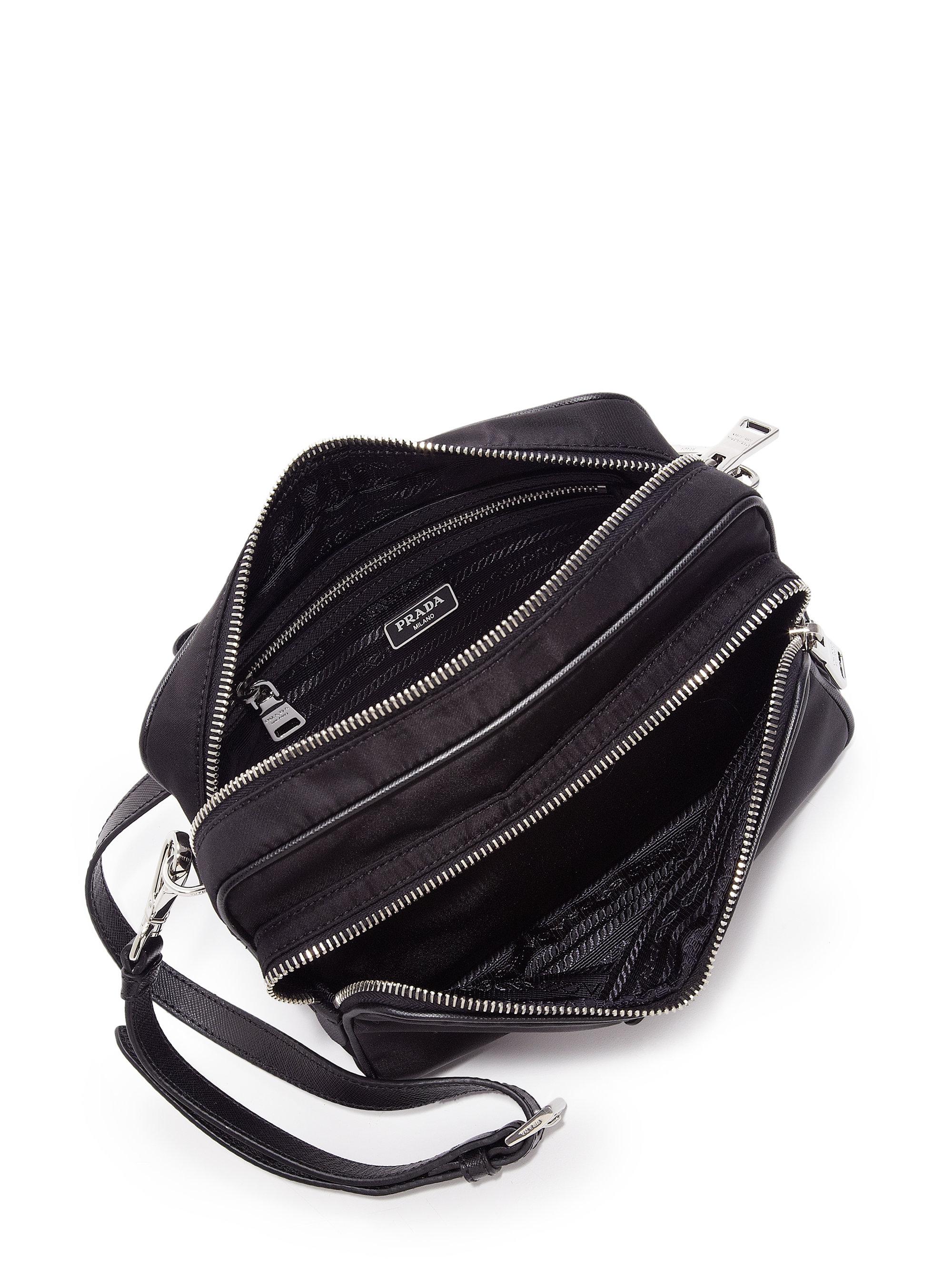 prada grey purse - Prada Nylon Double-zip Camera Bag in Black (NERO-BLACK) | Lyst