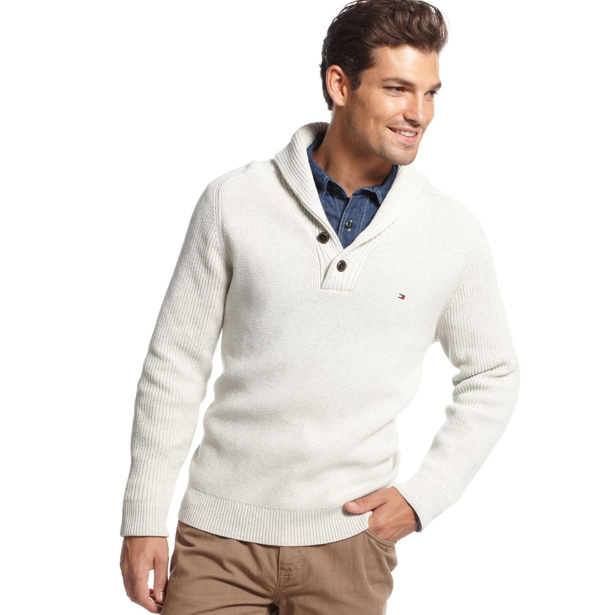 4b763d5e651e Lyst - Tommy Hilfiger Adler Shawl Collar Sweater in White for Men