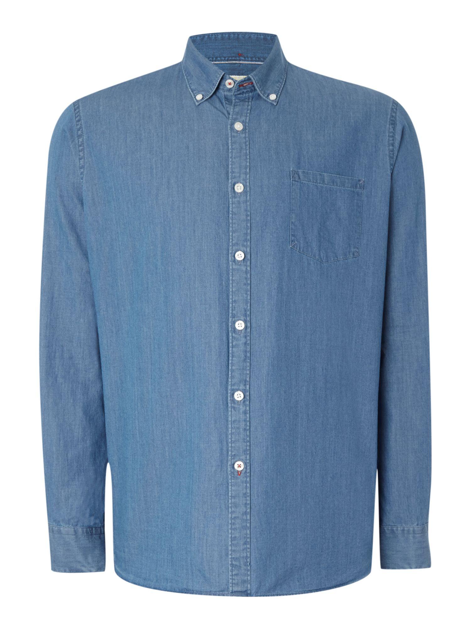 Tm lewin denim button down casual shirt in blue for men lyst for Denim button down shirts