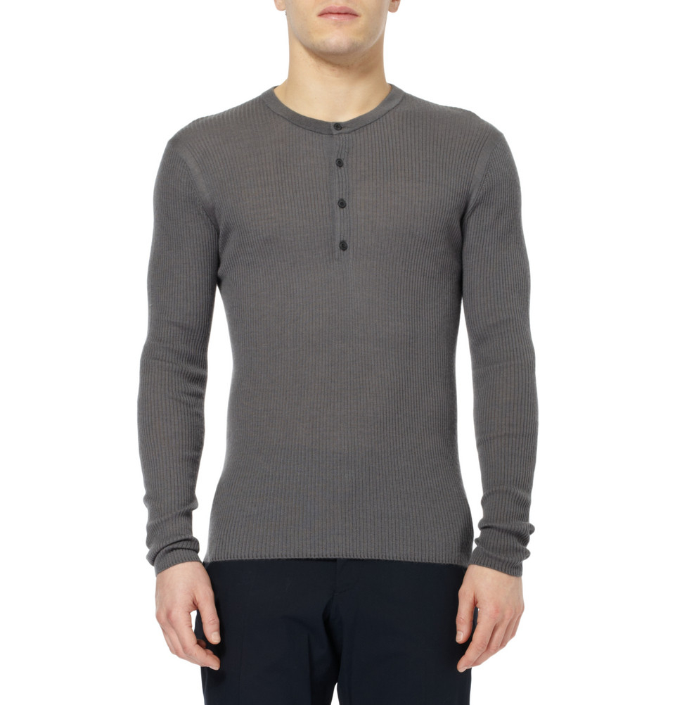 Burberry London Ribbed Cashmere Henley T Shirt In Gray For