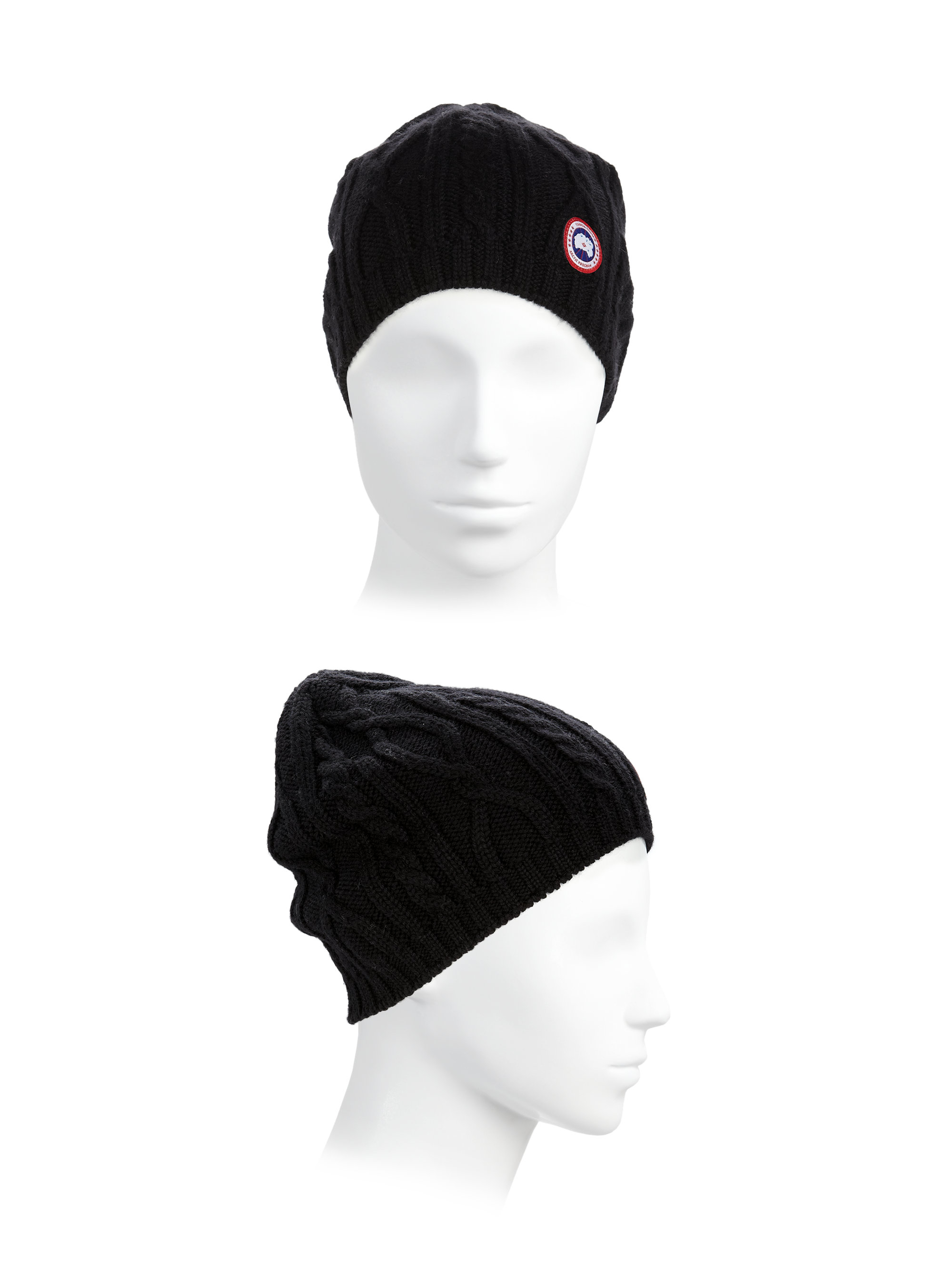 canada goose merino slouchy hat Canada Goose hats outlet fake - Canada goose Cable-knit Merino Wool Beanie in Black ...