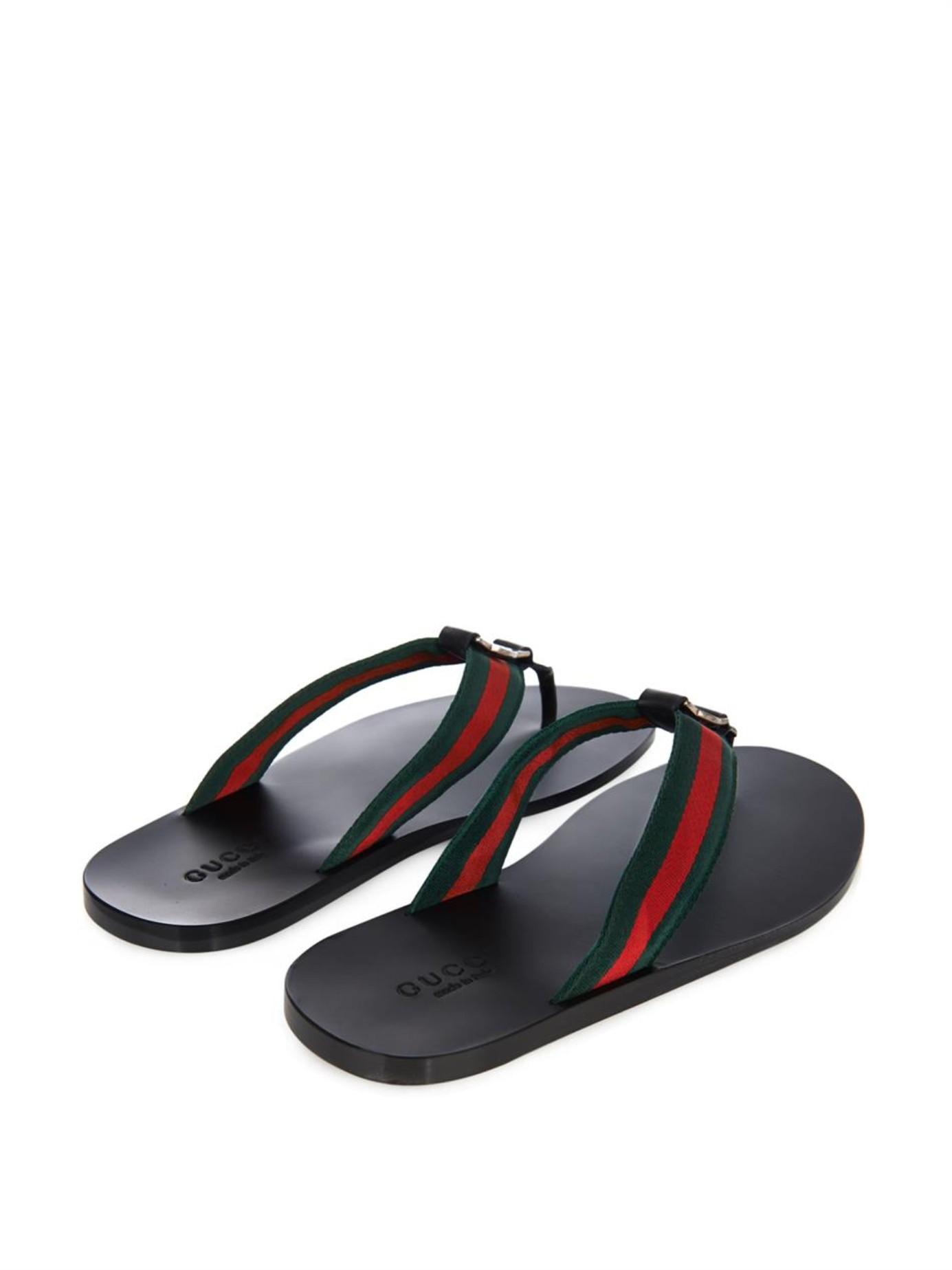 97f7ad02d42f4d Lyst - Gucci Web Thong Flip-Flops in Black for Men