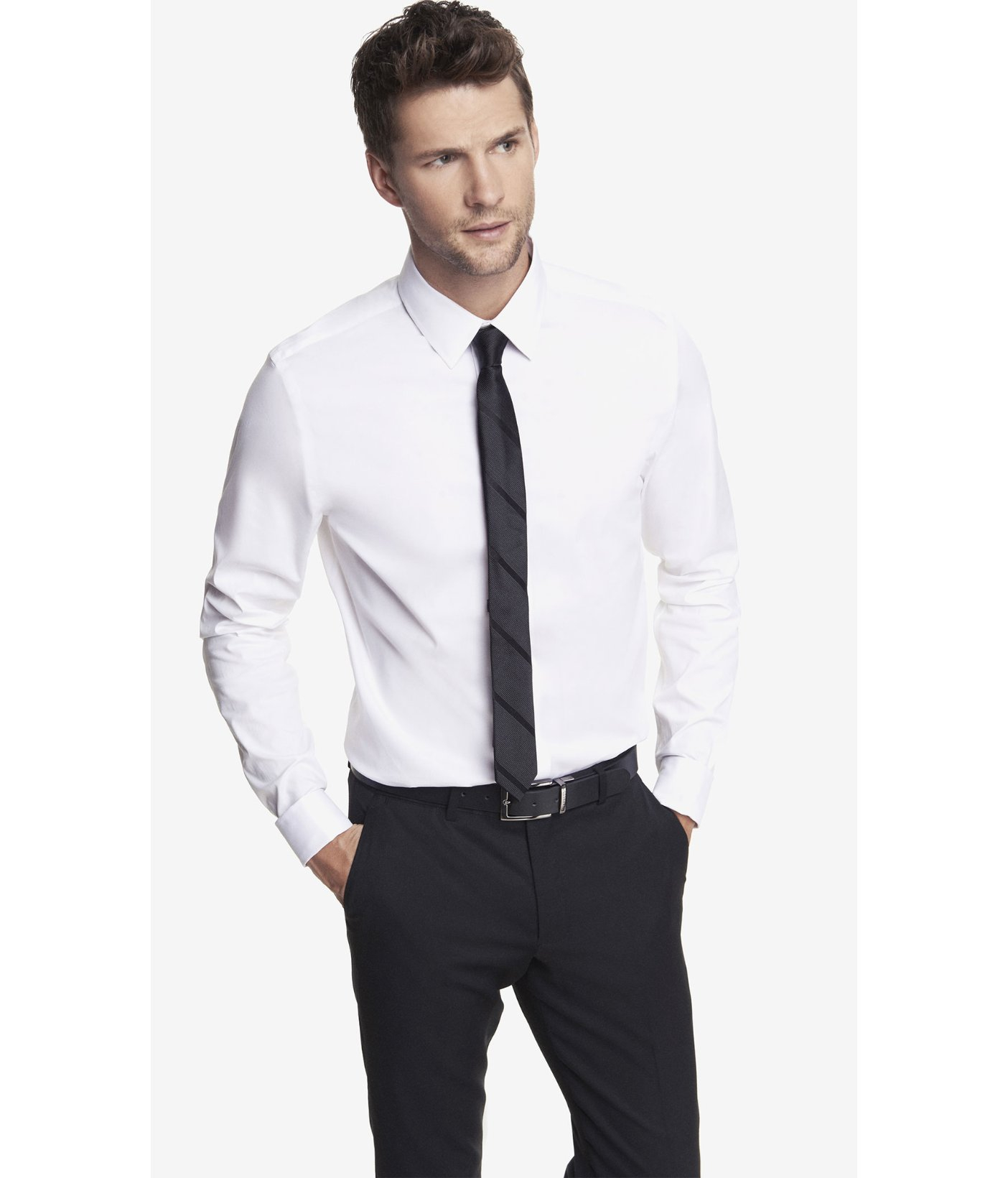 Express modern fit french cuff 1mx shirt in white for men for Modern fit dress shirt