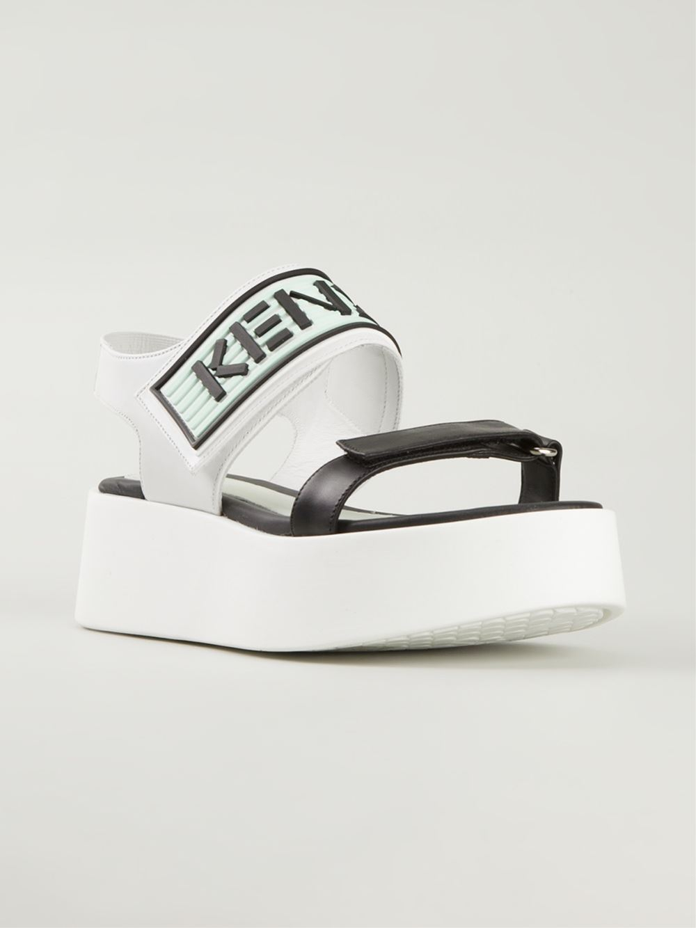 196778fa336a Lyst - KENZO Platform Leather Sandals in White