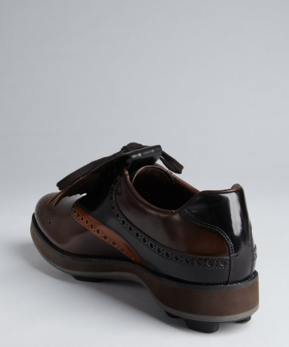 Prada Russet And Mahogany Leather Tooled Removable Fringe Brogues ...