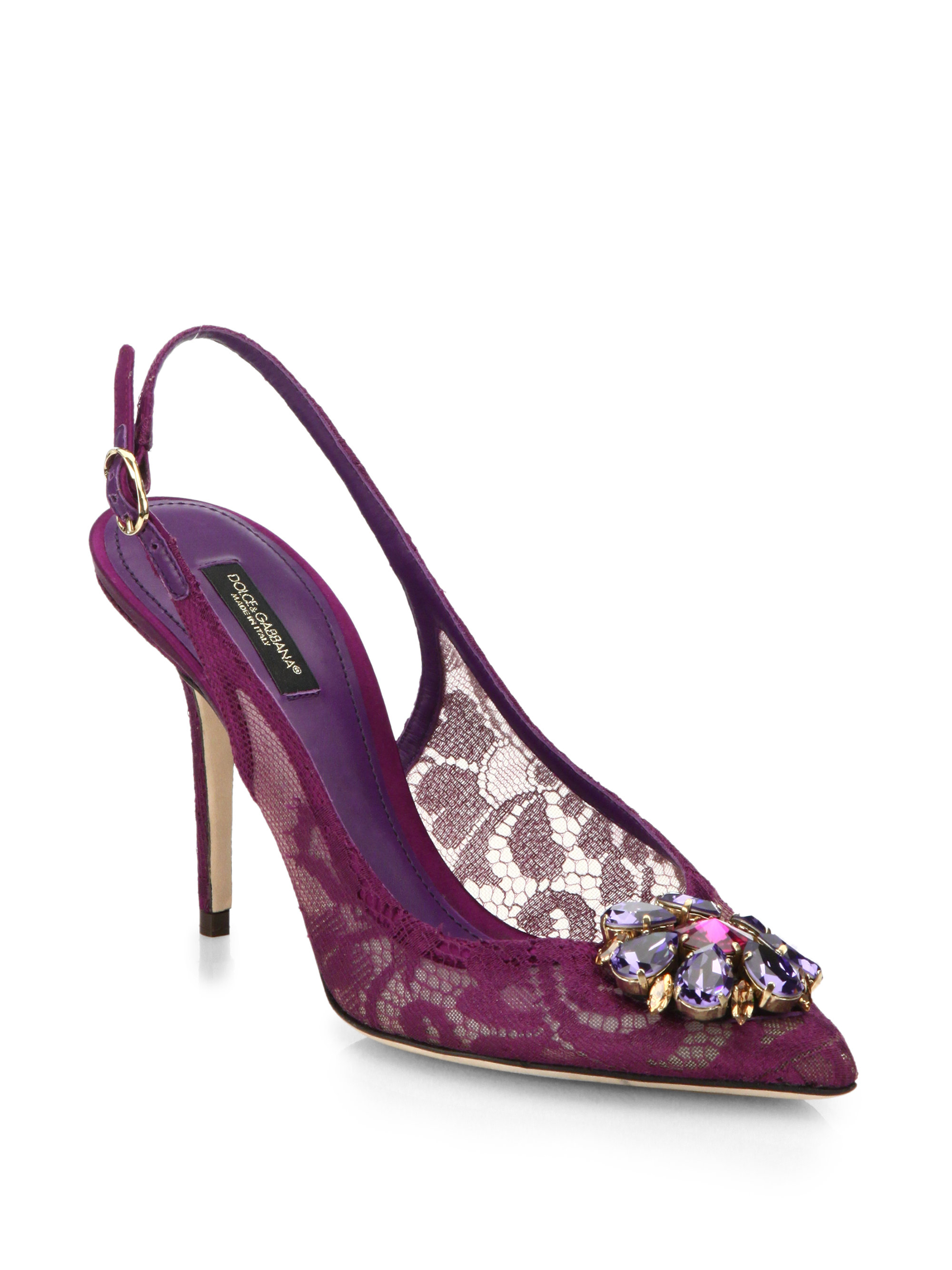 Lyst - Dolce & gabbana Embellished Lace Slingback Pumps in Purple