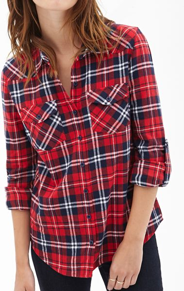 Forever 21 Tartan Flannel Collared Shirt In Multicolor