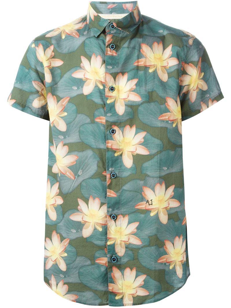 Armani Jeans Lotus Flower Print Shirt In Green For Men Lyst