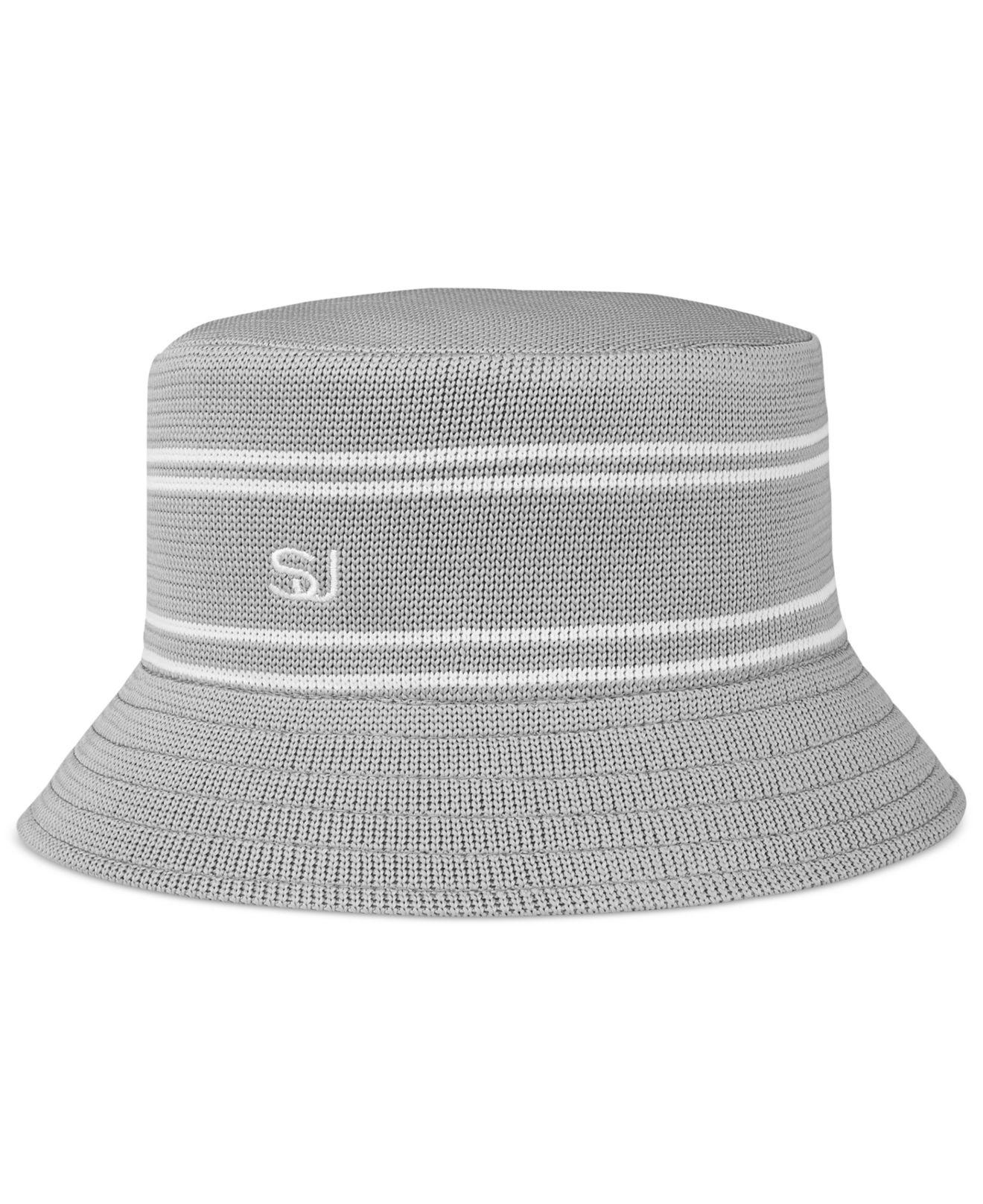 6ef3be88671 Lyst - Sean John Men s Stripe Bucket Hat in Gray for Men
