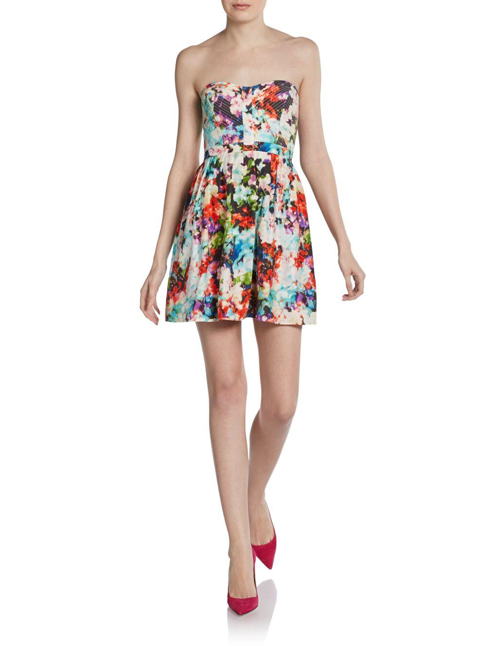 Parker Strapless Silk Floral Dress - Lyst