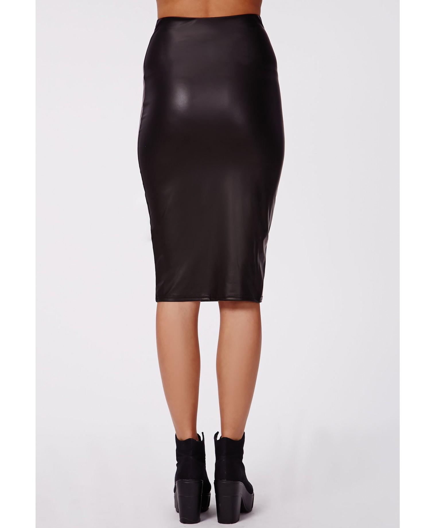 missguided angi wetlook midi skirt black in black lyst